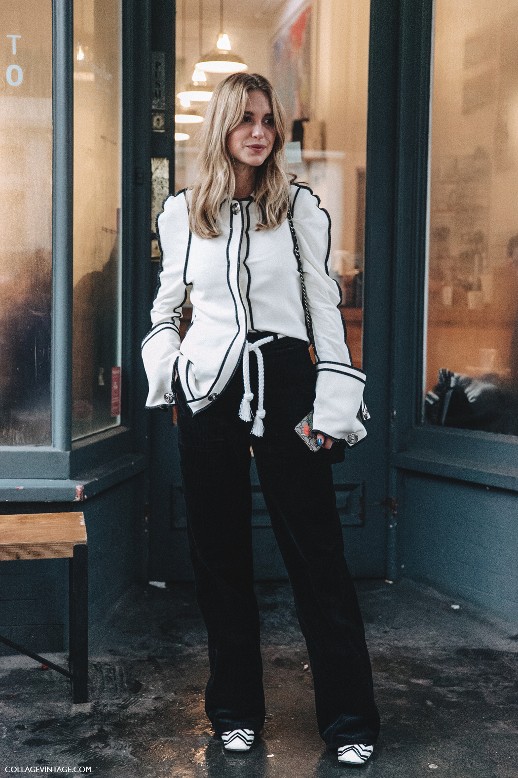LFW-London_Fashion_Week_Fall_16-Street_Style-Collage_Vintage-Pernille_Teisbaek-JW_Anderson-Black_And_White-Big_Sleeves-Chanel_Bag-7