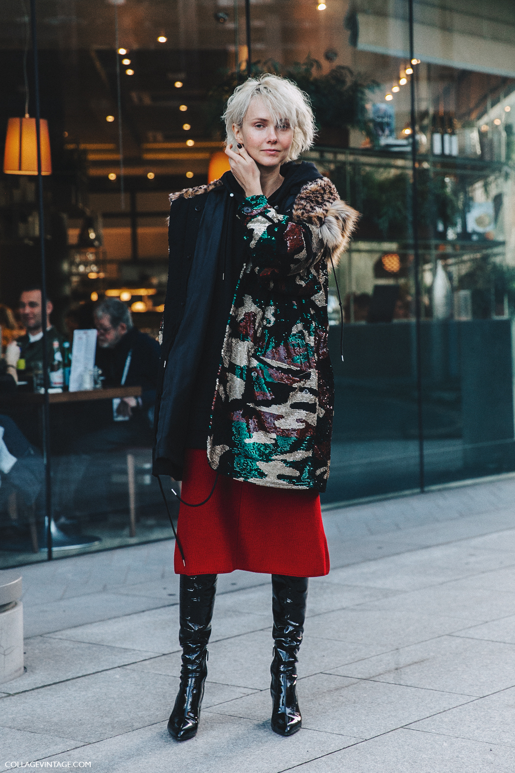 LFW-London_Fashion_Week_Fall_16-Street_Style-Collage_Vintage-Red_Midi_Skirt-Sequined_Parka-Christopher_Kane-Olga_Karput-