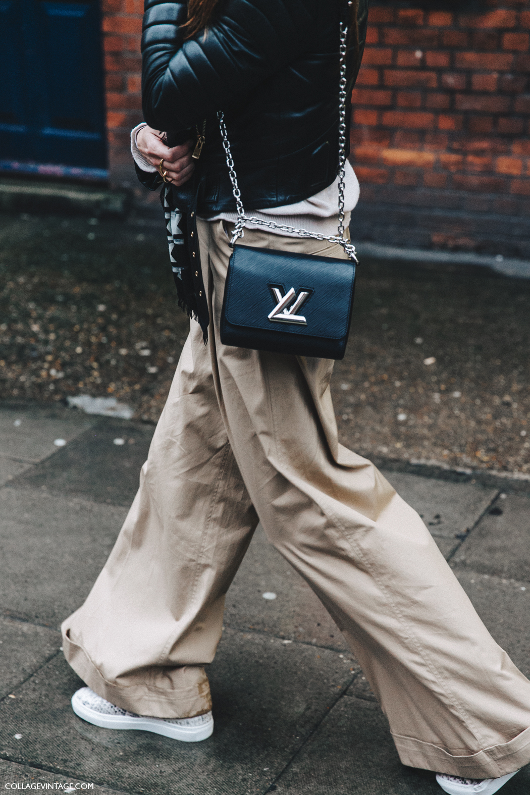 LFW-London_Fashion_Week_Fall_16-Street_Style-Collage_Vintage-Trousers-Louis_Vuitton_Bag-Biker_Jacket-1