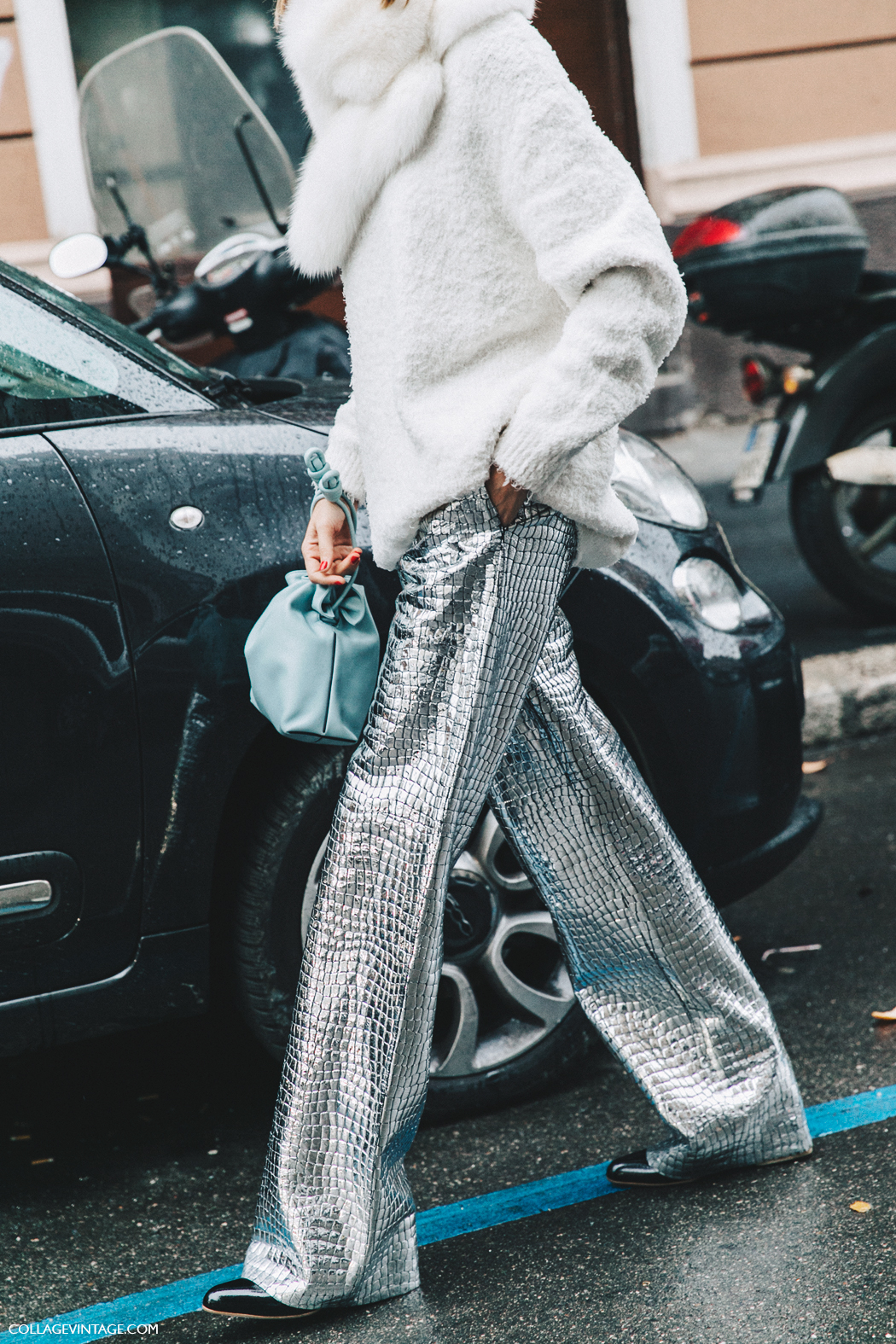 Milan_Fashion_Week_Fall_16-MFW-Street_Style-Collage_Vintage-Candela_Novembre-Loewe_Leather_Coco_TRousers-Metallic-2