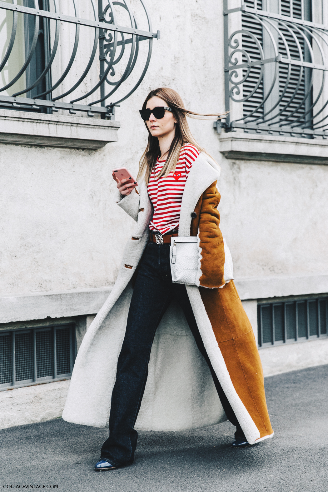 Milan_Fashion_Week_Fall_16-MFW-Street_Style-Collage_Vintage-Chiara_Capitani-Striped_Top-Shearling_Long_Coat-2