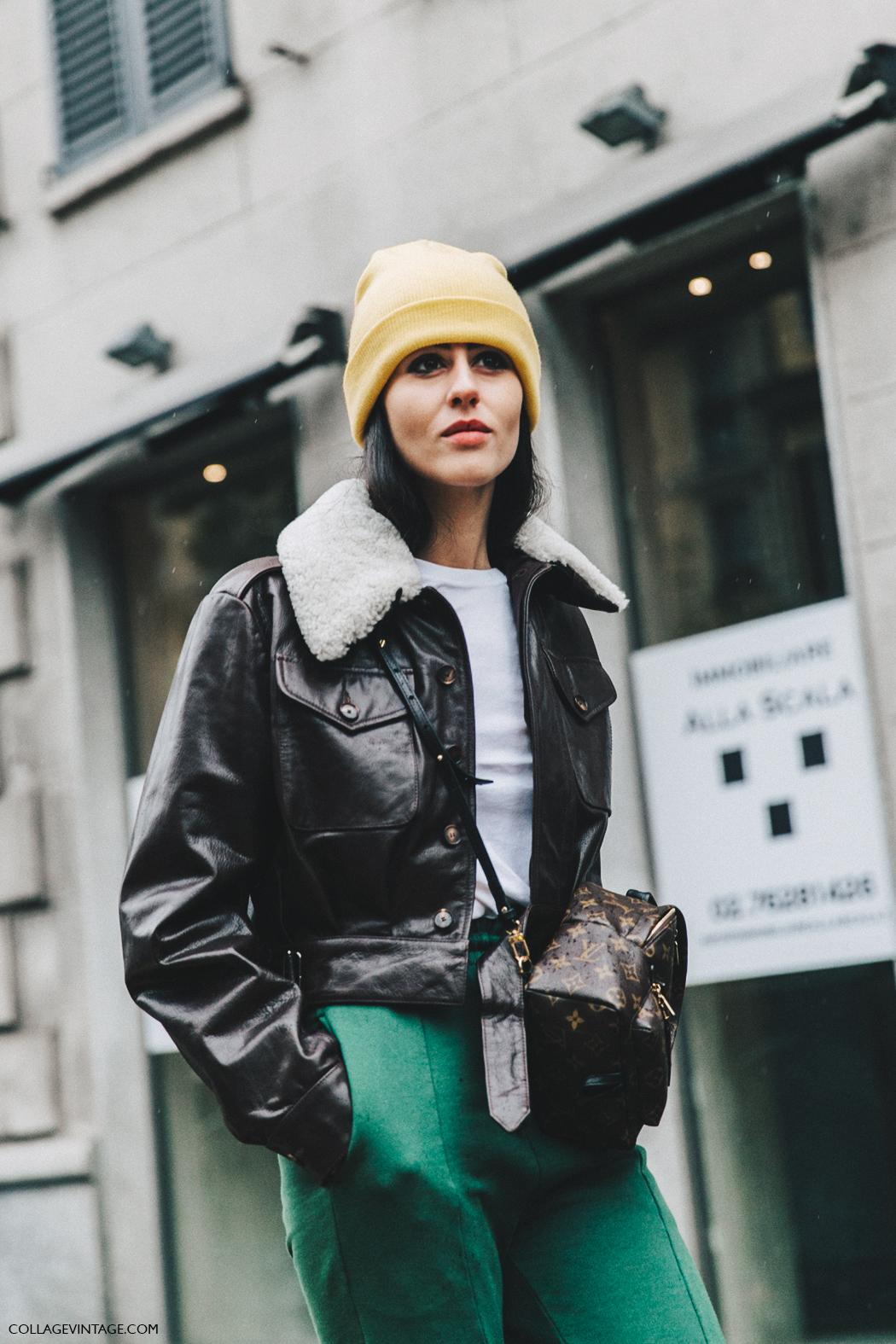 Milan_Fashion_Week_Fall_16-MFW-Street_Style-Collage_Vintage-Gilda_Ambrossio-Yellow_Beanie-Shearling_Jacket-Green-2