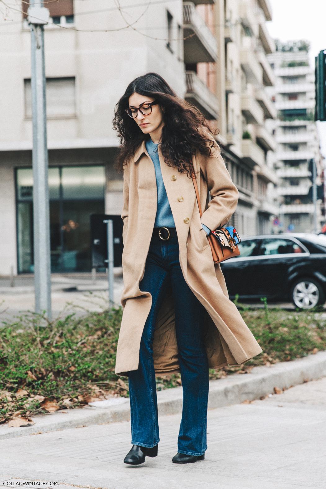 Milan_Fashion_Week_Fall_16-MFW-Street_Style-Collage_Vintage-Giulia_Tordini-Camel_Coat-Flared_Jeans-Paola_Cadematori_Bag-2