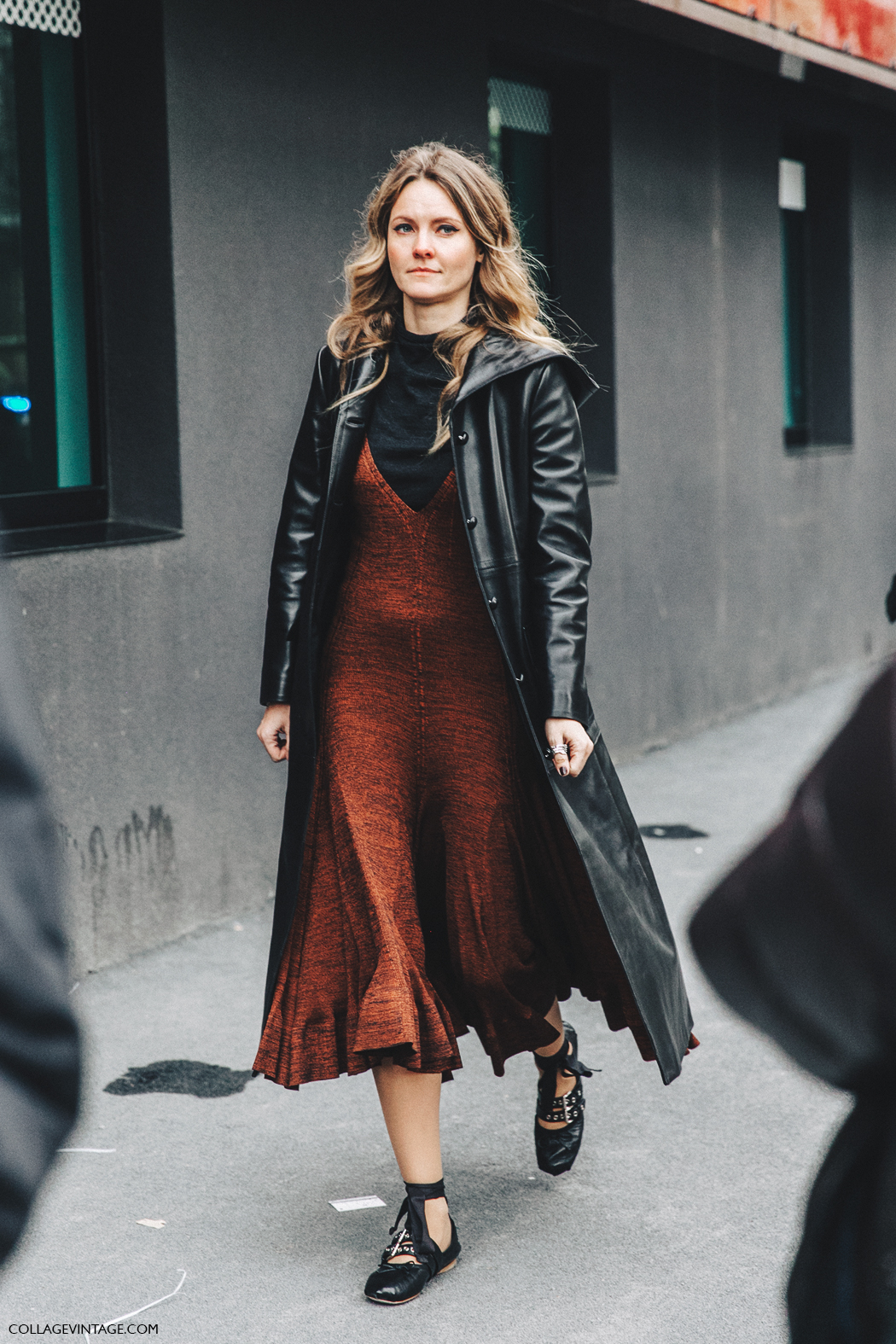 Milan_Fashion_Week_Fall_16-MFW-Street_Style-Collage_Vintage-Leather_Coat-Celine_Dress-Miu_Miu_Flats_Ballerinas-