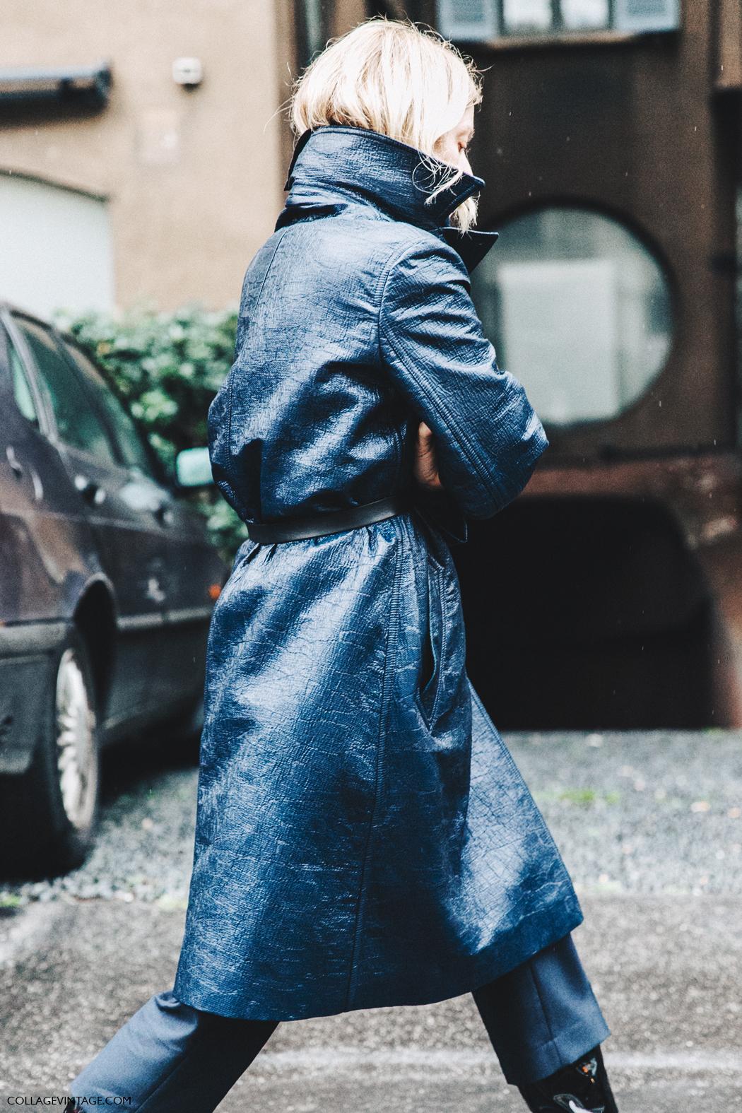 Milan_Fashion_Week_Fall_16-MFW-Street_Style-Collage_Vintage-Rainy_Coat-Navy_Blue-