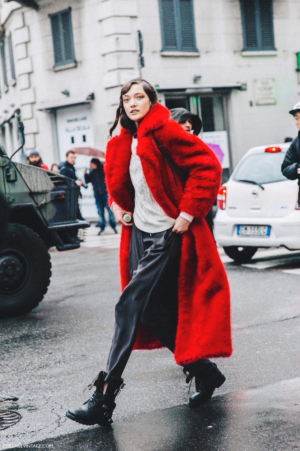 Milan_Fashion_Week_Fall_16-MFW-Street_Style-Collage_Vintage-Red_Fur_Coat-Model-