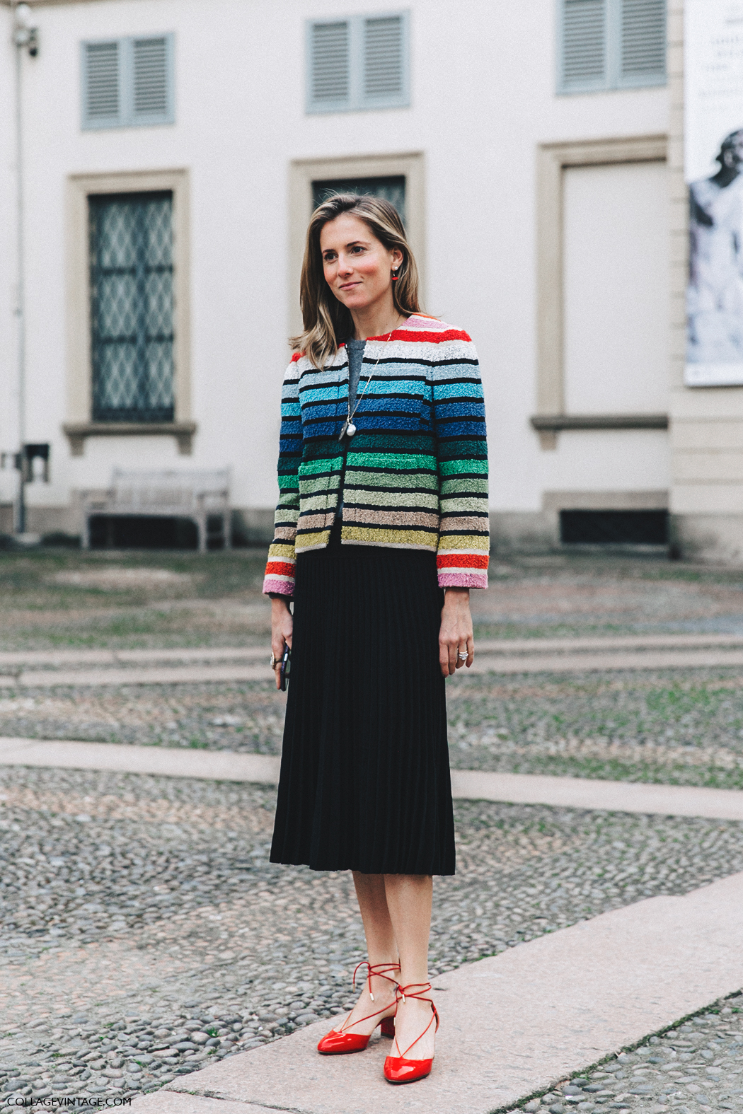 Milan_Fashion_Week_Fall_16-MFW-Street_Style-Collage_Vintage-Striped_Jacket-Pleated_Midi_Skirt-Aquazzura_Flats-Marina_Larroude-2