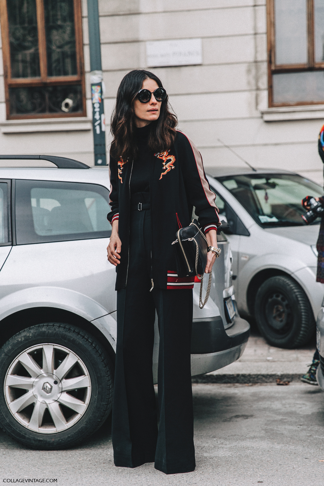 Milan_Fashion_Week_Fall_16-MFW-Street_Style-Collage_Vintage-leila_yavari-Bomber_Jacket-Black-q