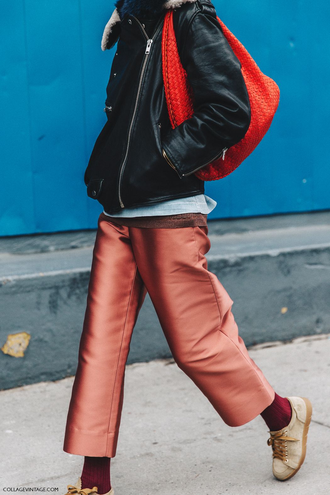 NYFW-New_York_Fashion_Week-Fall_Winter-16-Street_Style-Pink_Trousers-Sneakers-Biker_Jacket-