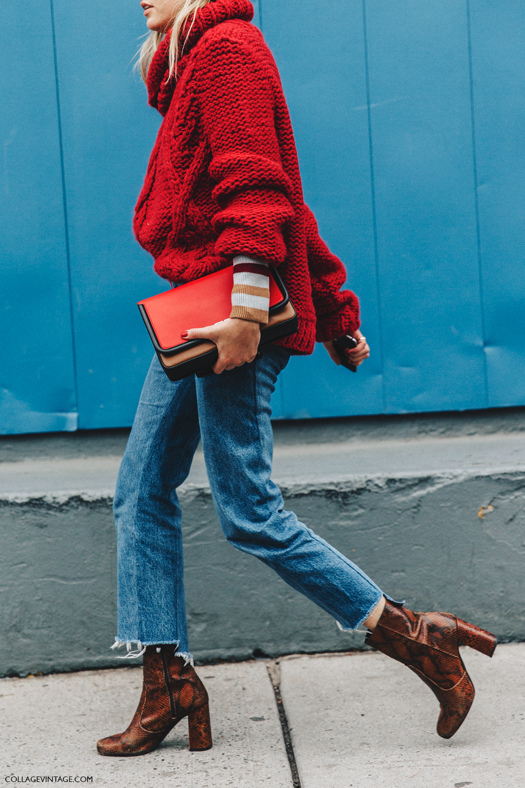 NYFW-New_York_Fashion_Week-Fall_Winter-17-Street_Style-Camille_Charriere-Vetements_Jeans-Red_Sweater-Beanie-Snake_Boots-5