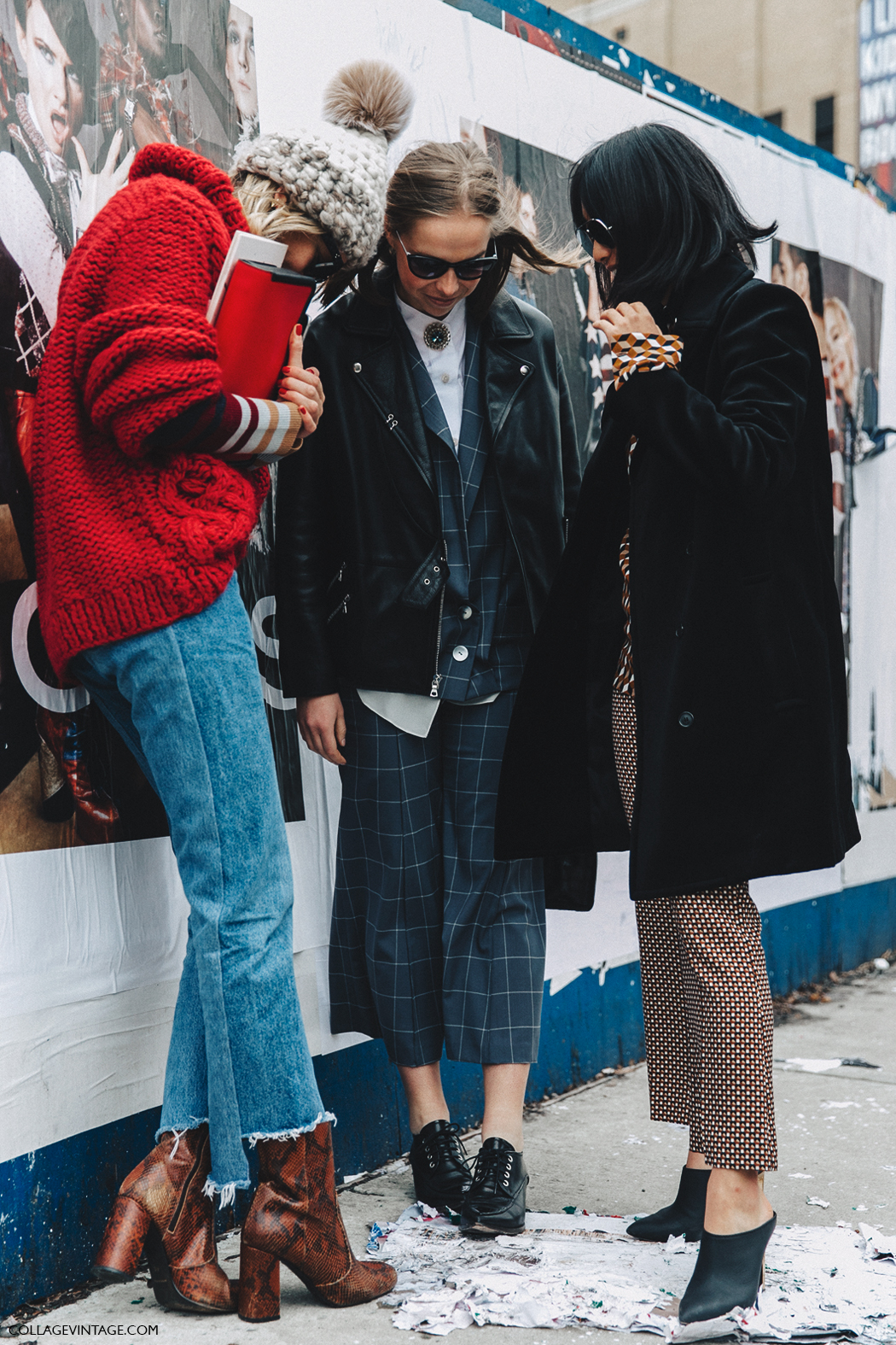 Nyfw New York Fashion Week Fall Winter 17 Street Style Studded Coat Nike Sweater Jeans