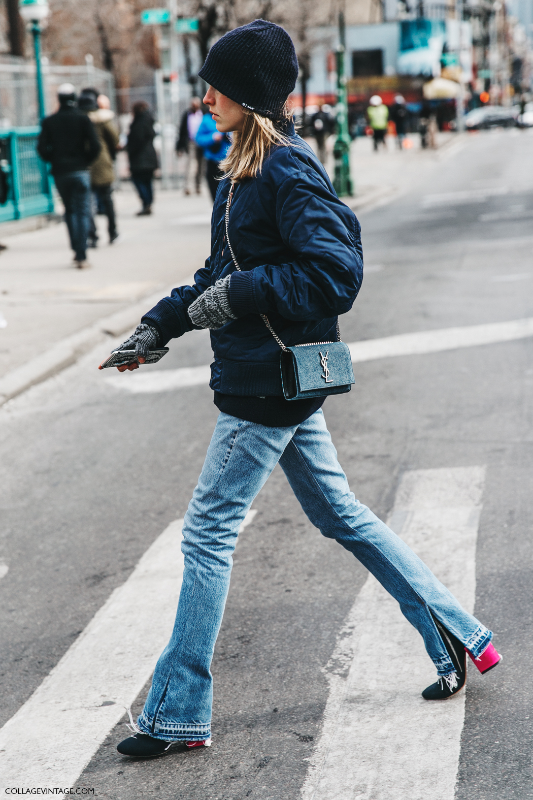 NYFW-New_York_Fashion_Week-Fall_Winter-17-Street_Style-Saint_Laurent_Bag-Jessica_Minkoff-Jeans-Bomber-1