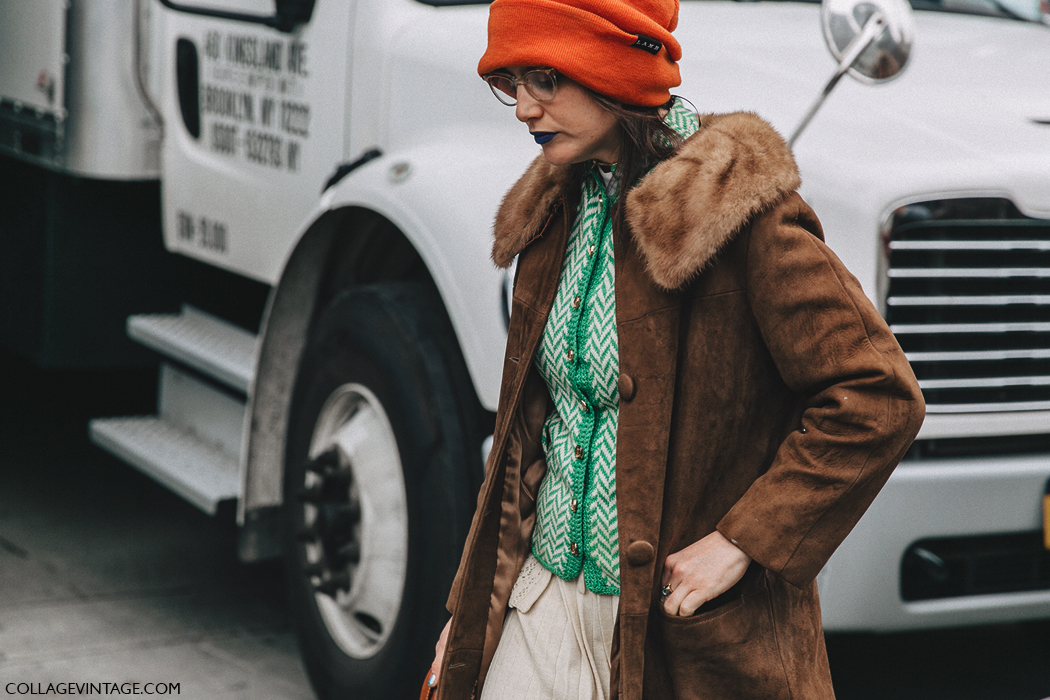 NYFW-New_York_Fashion_Week-Fall_Winter-17-Street_Style-Vintage_Coat-Orange_Beanie-