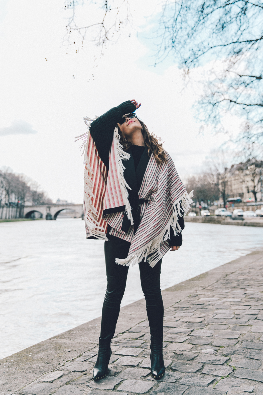 Collage_Vintage_Outfit-Maje_Exclusive-Poncho-Striped-Black-Celine_Boots-Street_Style-PFW-13
