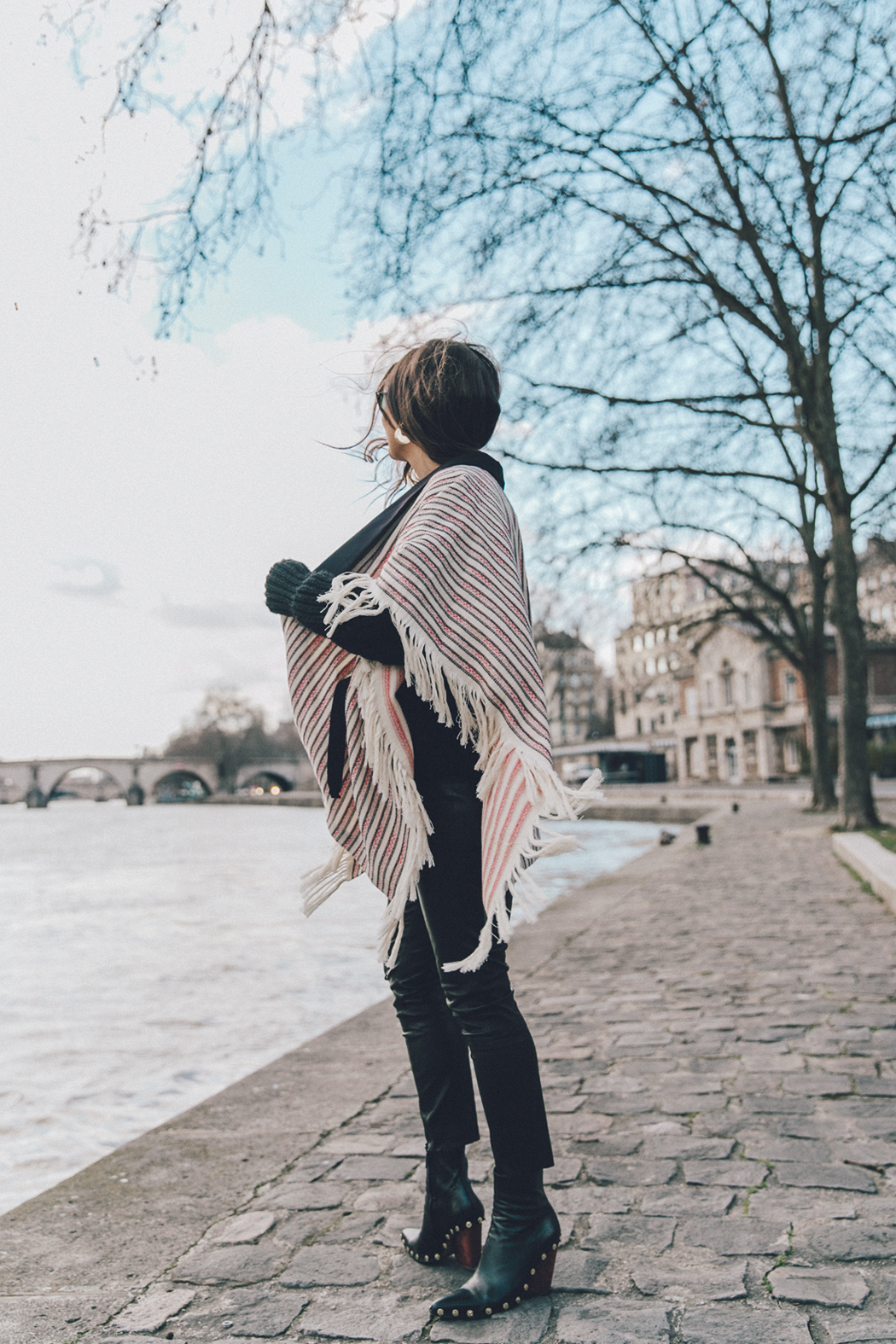 Collage_Vintage_Outfit-Maje_Exclusive-Poncho-Striped-Black-Celine_Boots-Street_Style-PFW-20