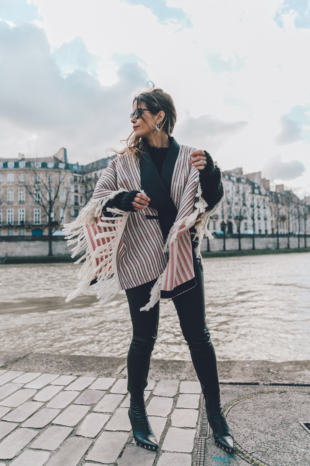 Collage_Vintage_Outfit-Maje_Exclusive-Poncho-Striped-Black-Celine_Boots-Street_Style-PFW-25