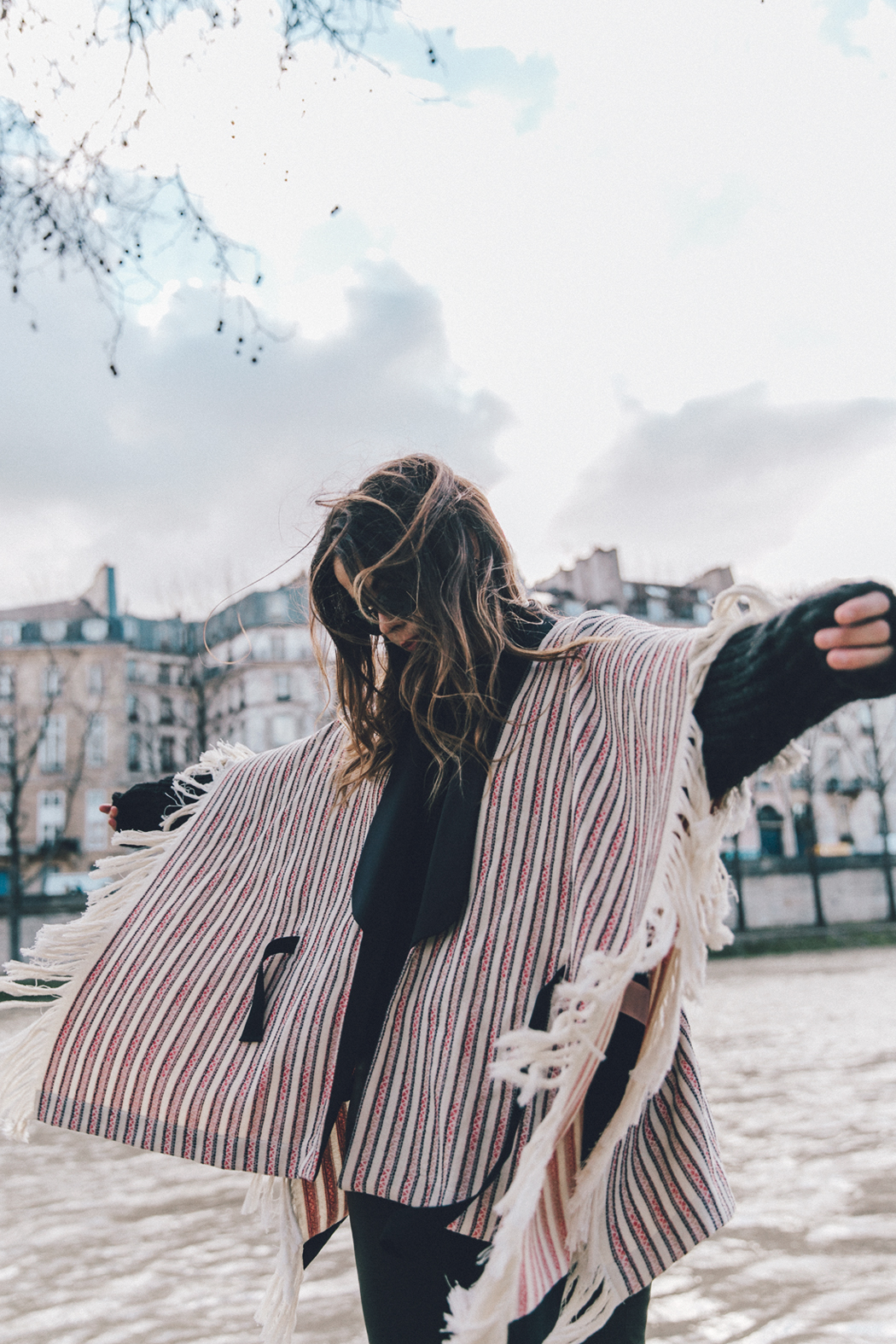 Collage_Vintage_Outfit-Maje_Exclusive-Poncho-Striped-Black-Celine_Boots-Street_Style-PFW-45