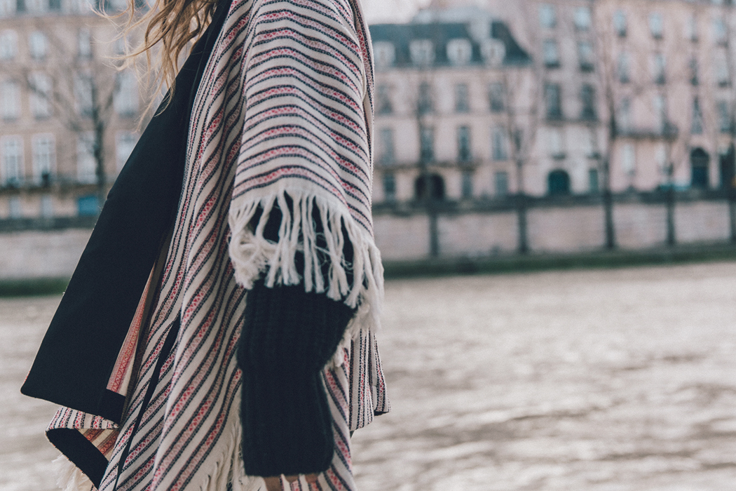 Collage_Vintage_Outfit-Maje_Exclusive-Poncho-Striped-Black-Celine_Boots-Street_Style-PFW-63