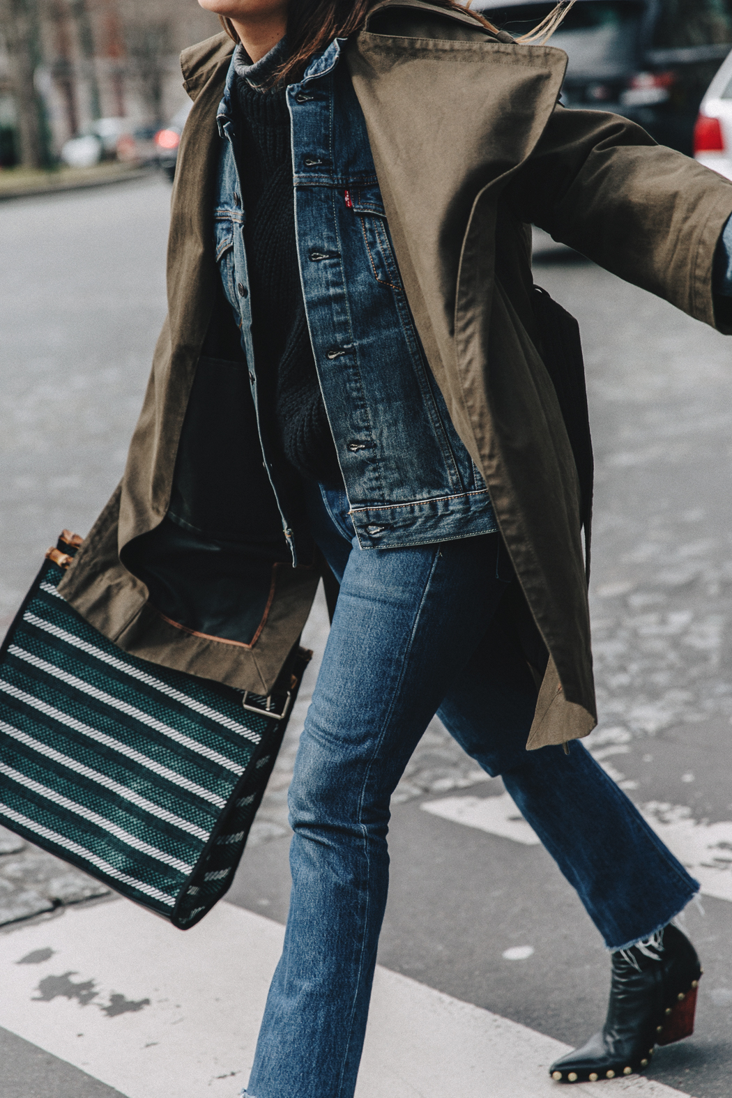Layers-Denim_Levis-Parka-Striiped_Basket-Outfit-Celine_Boots-Street_Style-1