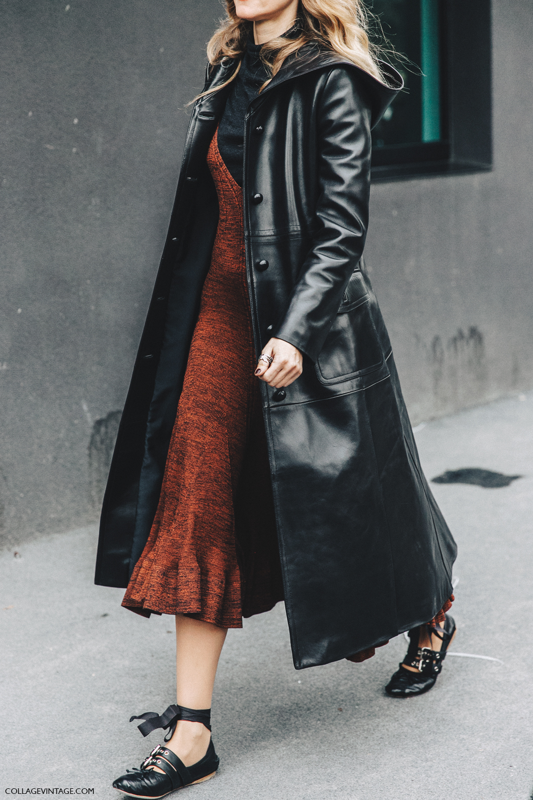 Milan_Fashion_Week_Fall_16-MFW-Street_Style-Collage_Vintage-Leather_Coat-Celine_Dress-Miu_Miu_Flats_Ballerinas-1