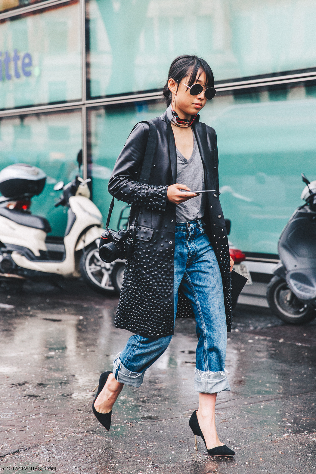 Milan_Fashion_Week_Fall_16-MFW-Street_Style-Collage_Vintage-Margaret_Zhang-LEanther_Coat-Jeans-