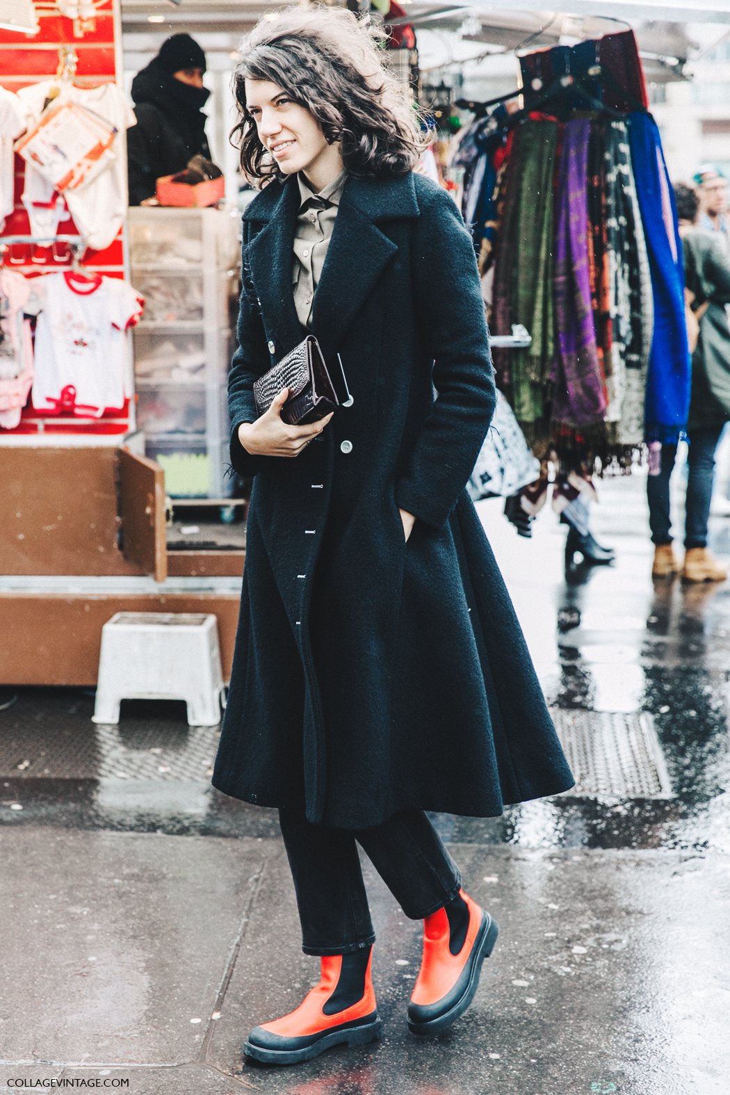 PFW-Paris_Fashion_Week_Fall_2016-Street_Style-Collage_Vintage-Black_Coat-Celine_Rainy_Boots-