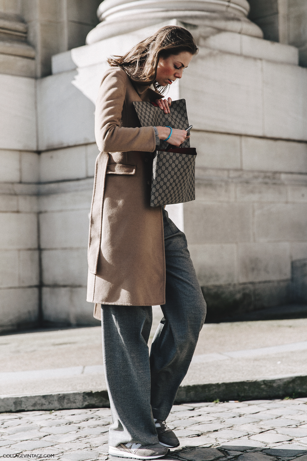 PFW-Paris_Fashion_Week_Fall_2016-Street_Style-Collage_Vintage-Camel_Coat-Grey_trousers-Gucci-Sneakers-1