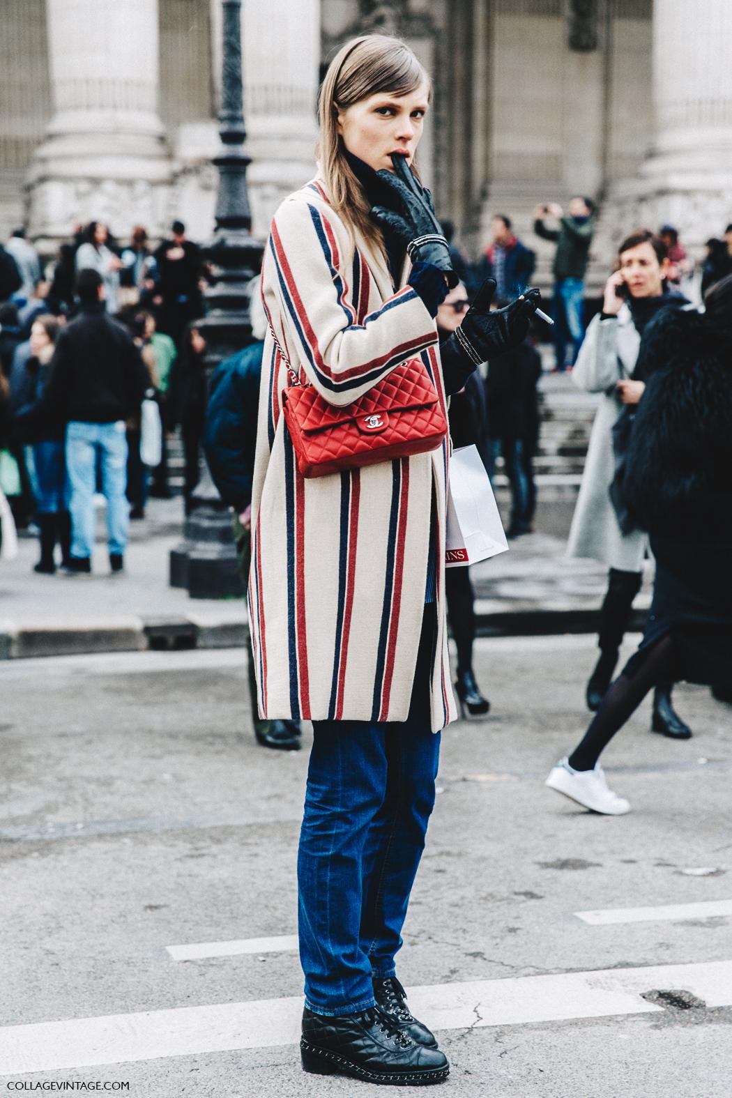 PFW-Paris_Fashion_Week_Fall_2016-Street_Style-Collage_Vintage-Caroline_Brasch-Striped_Coat-Chanel_Bag-
