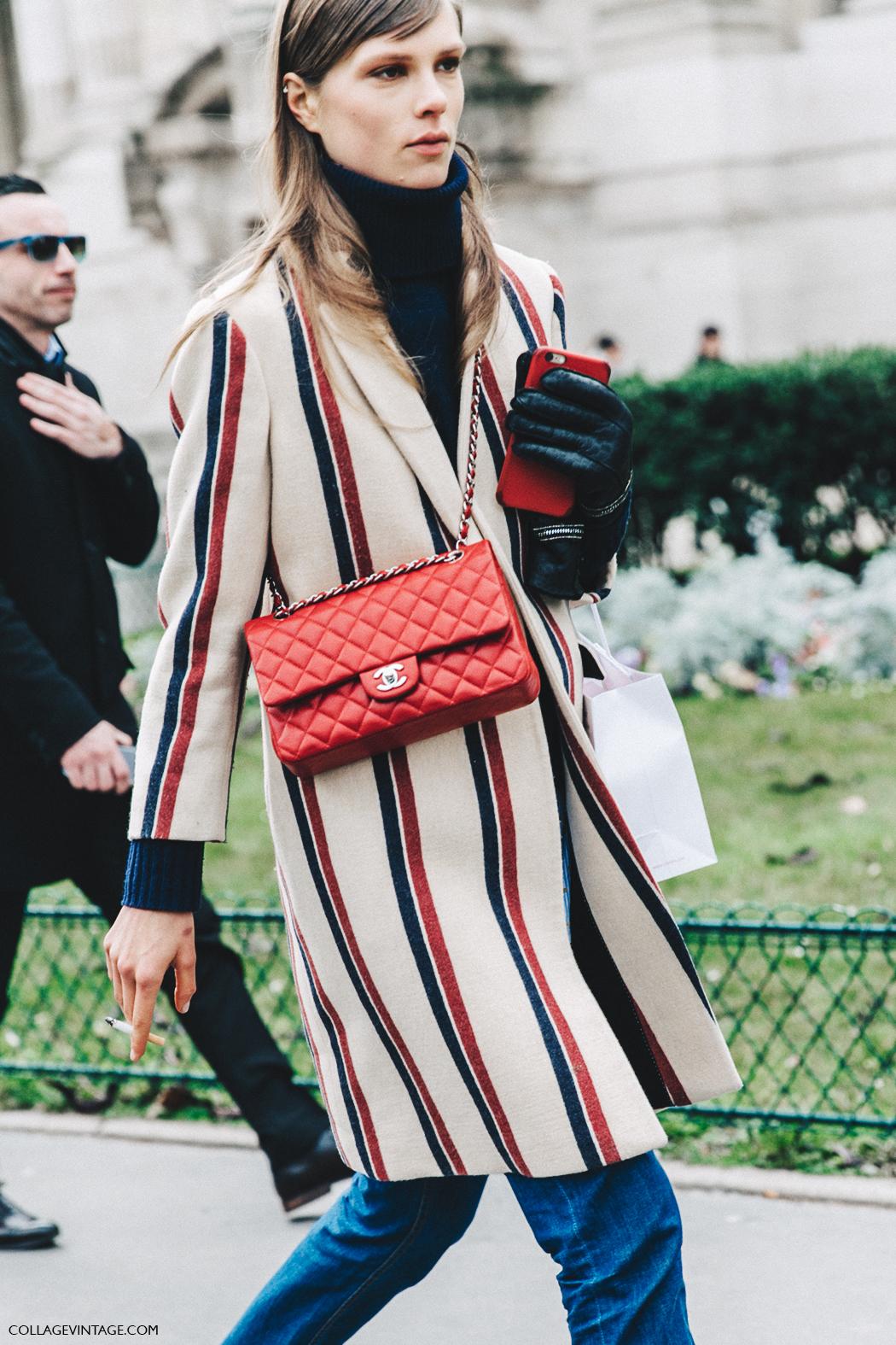 PFW-Paris_Fashion_Week_Fall_2016-Street_Style-Collage_Vintage-Caroline_Brasch-Striped_Coat-Chanel_Bag-4