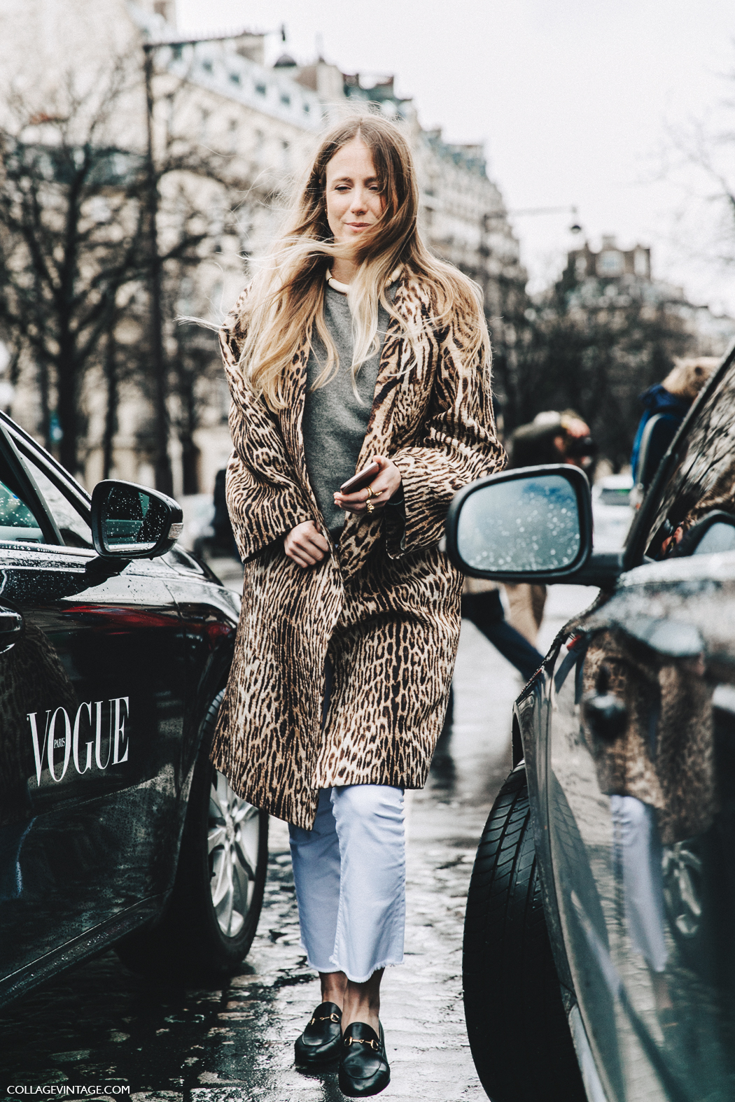 PFW-Paris_Fashion_Week_Fall_2016-Street_Style-Collage_Vintage-Jennifer_Neyt-Leopard_Coat-Chloe-White_Trousers-Gucci_Loafers-1