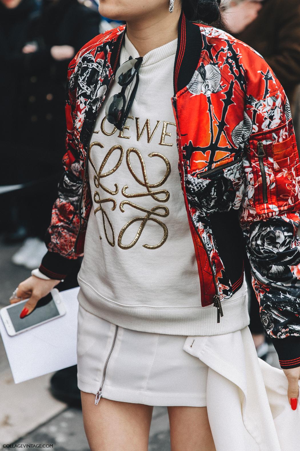 PFW-Paris_Fashion_Week_Fall_2016-Street_Style-Collage_Vintage-Loewe_Sweatshirt-Bomber_Jacket-
