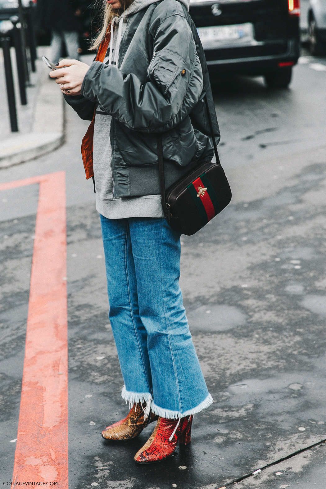 PFW-Paris_Fashion_Week_Fall_2016-Street_Style-Collage_Vintage-Miu_Miu-Bomber-Sweatshirt-Snake_Boots-Gucci-