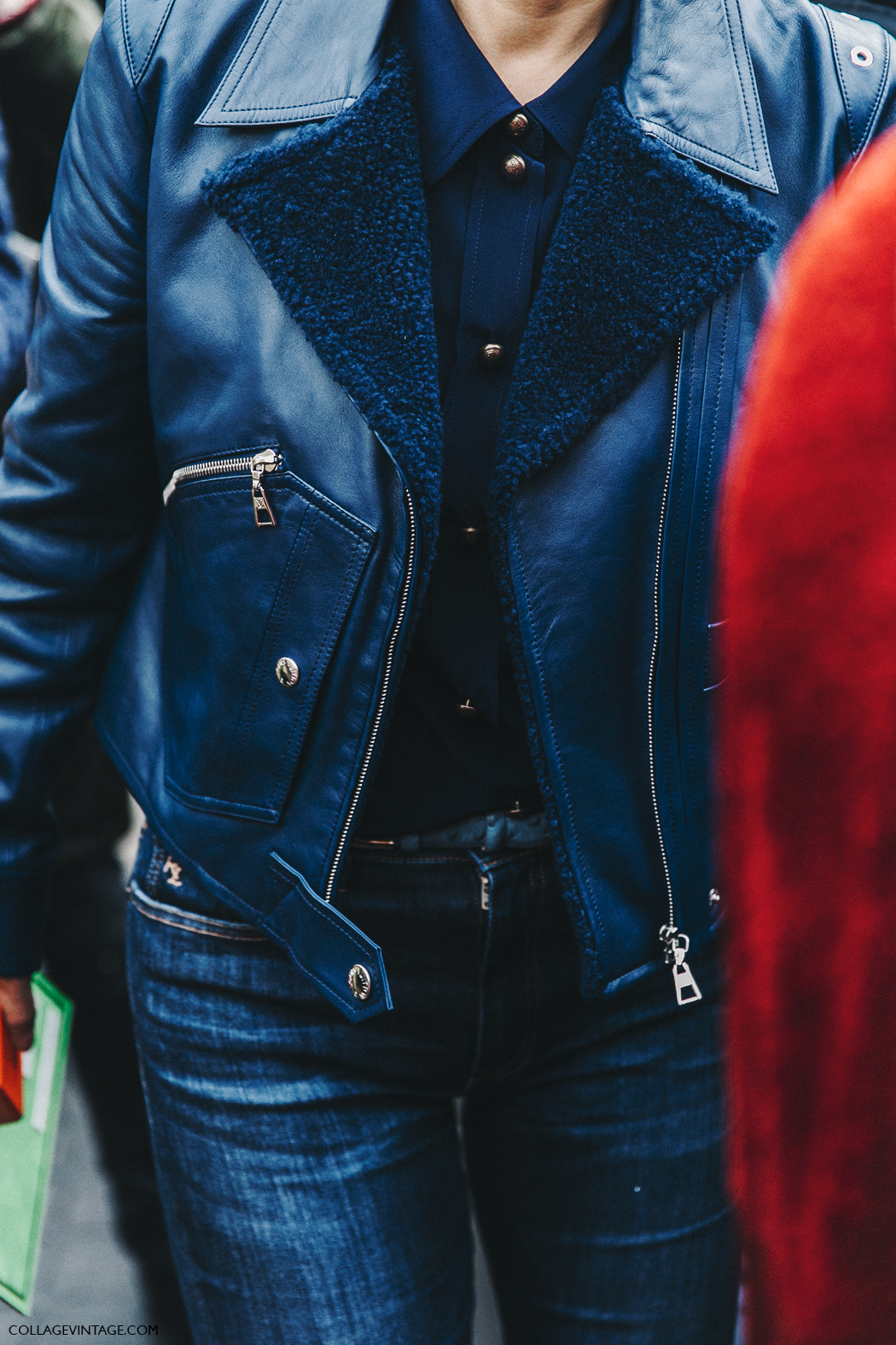 PFW-Paris_Fashion_Week_Fall_2016-Street_Style-Collage_Vintage-Miu_Miu-LEather_Jacket-Navy_Blue-