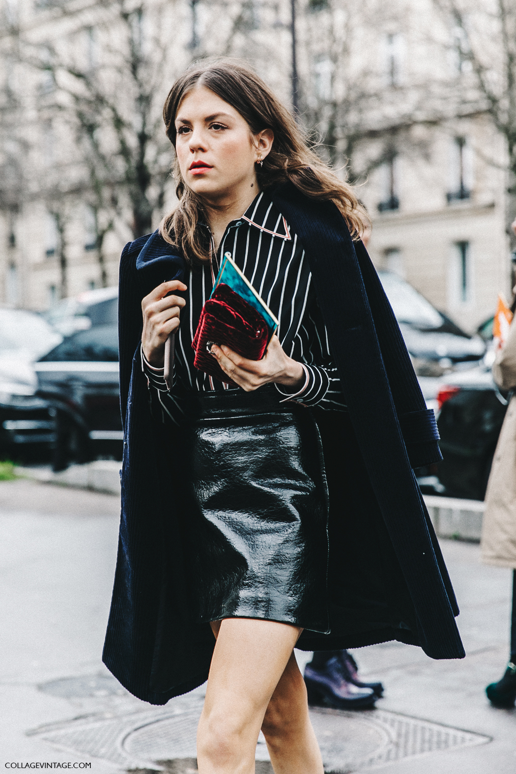 PFW-Paris_Fashion_Week_Fall_2016-Street_Style-Collage_Vintage-Miu_Miu-STRIPED_SHIRT-Velvet_boots-