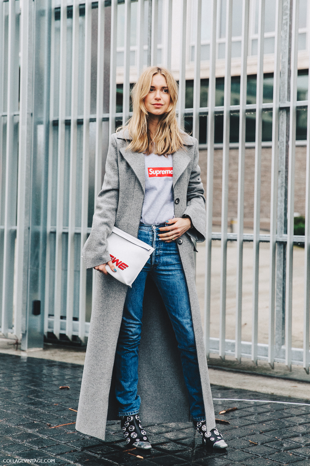 PFW-Paris_Fashion_Week_Fall_2016-Street_Style-Collage_Vintage-Pernille_Teisbaek-Long_Coat-Loewe_Cluth-Supreme_top-2