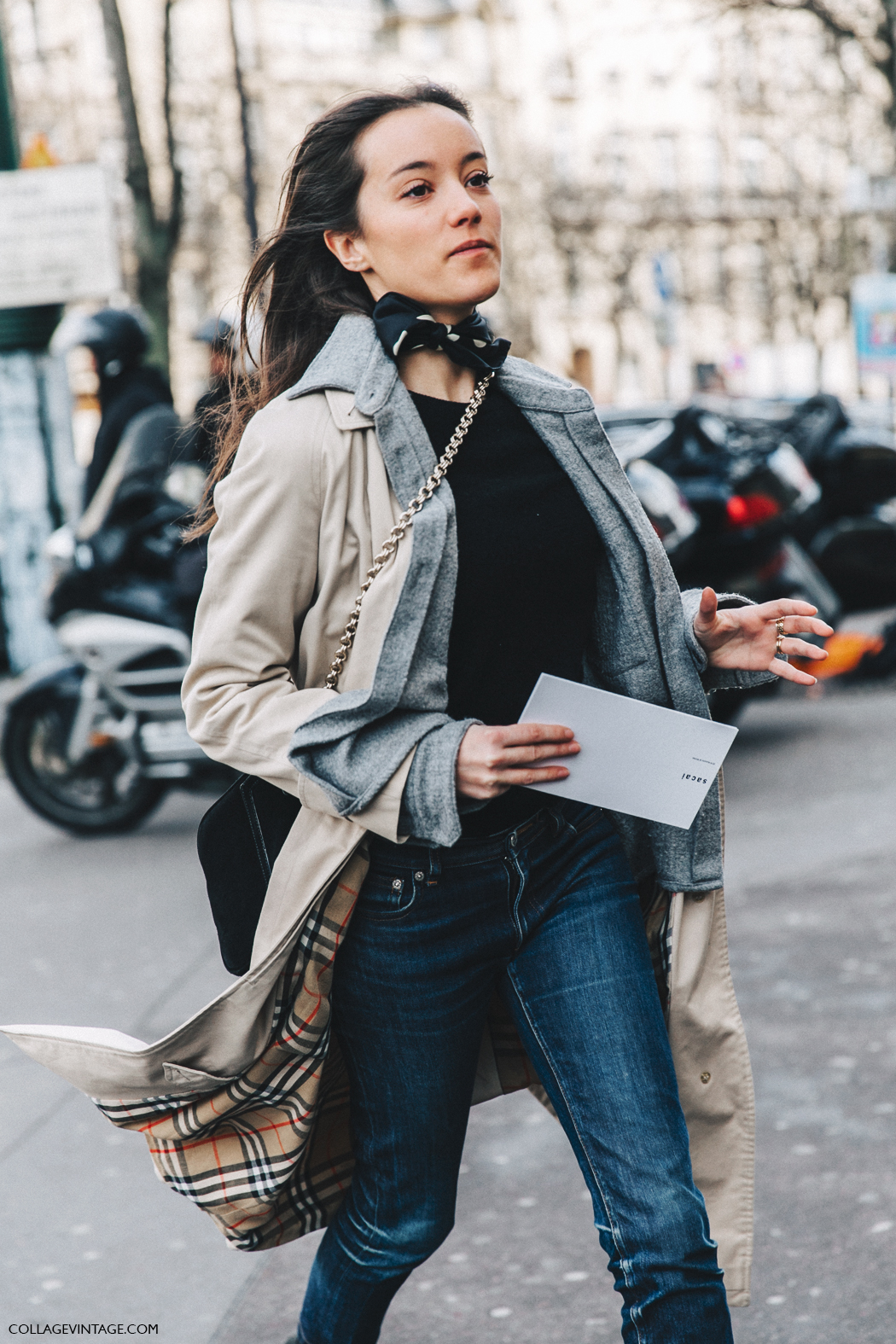 PFW-Paris_Fashion_Week_Fall_2016-Street_Style-Collage_Vintage-Stella_McCartney-Trench_Coat-Dot_Scarf-Bandana-