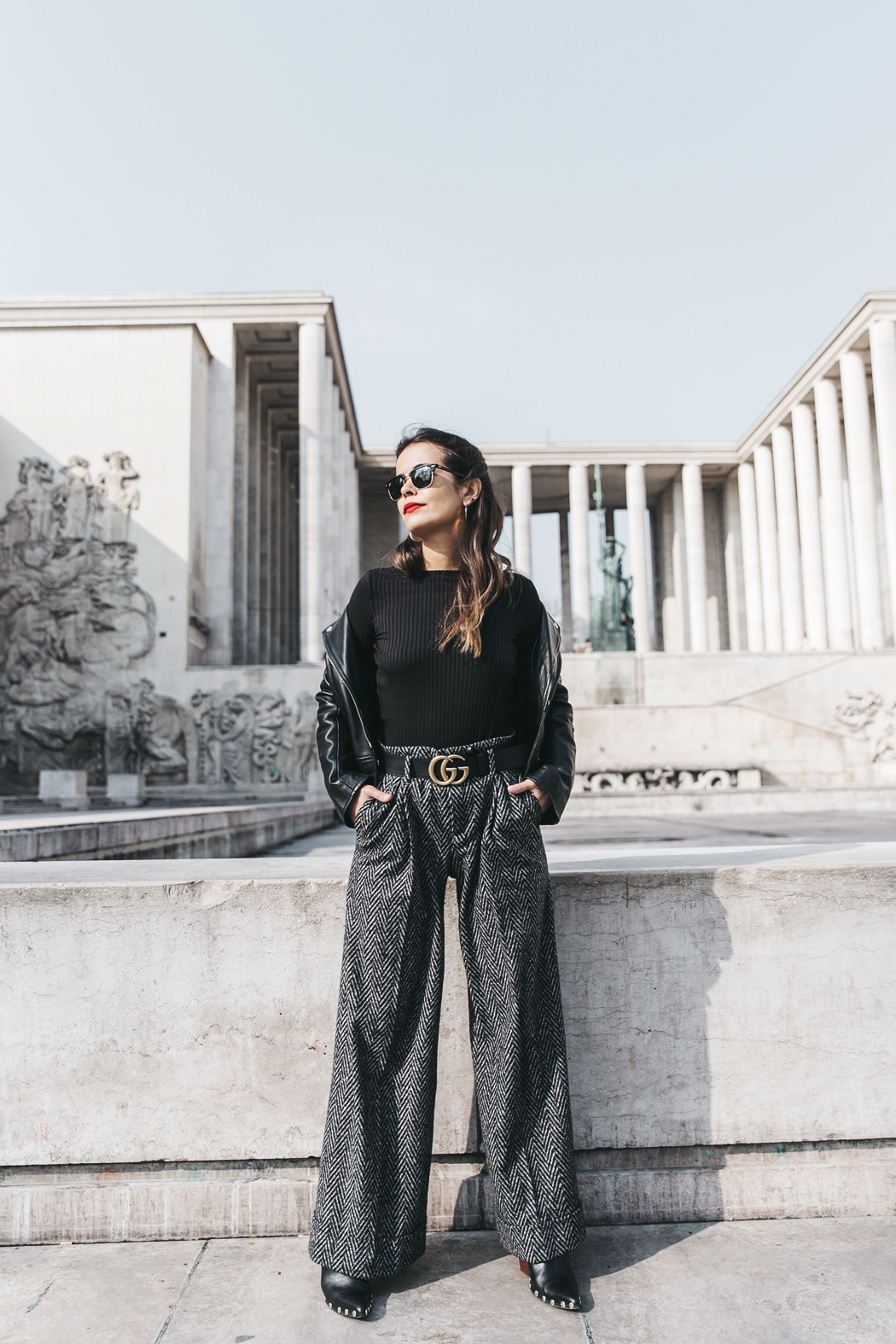Black_Body-Leather_Jacket-Celine_boots-Gucci_Belt-Wide_Leg_Trousers-Street_Style-9
