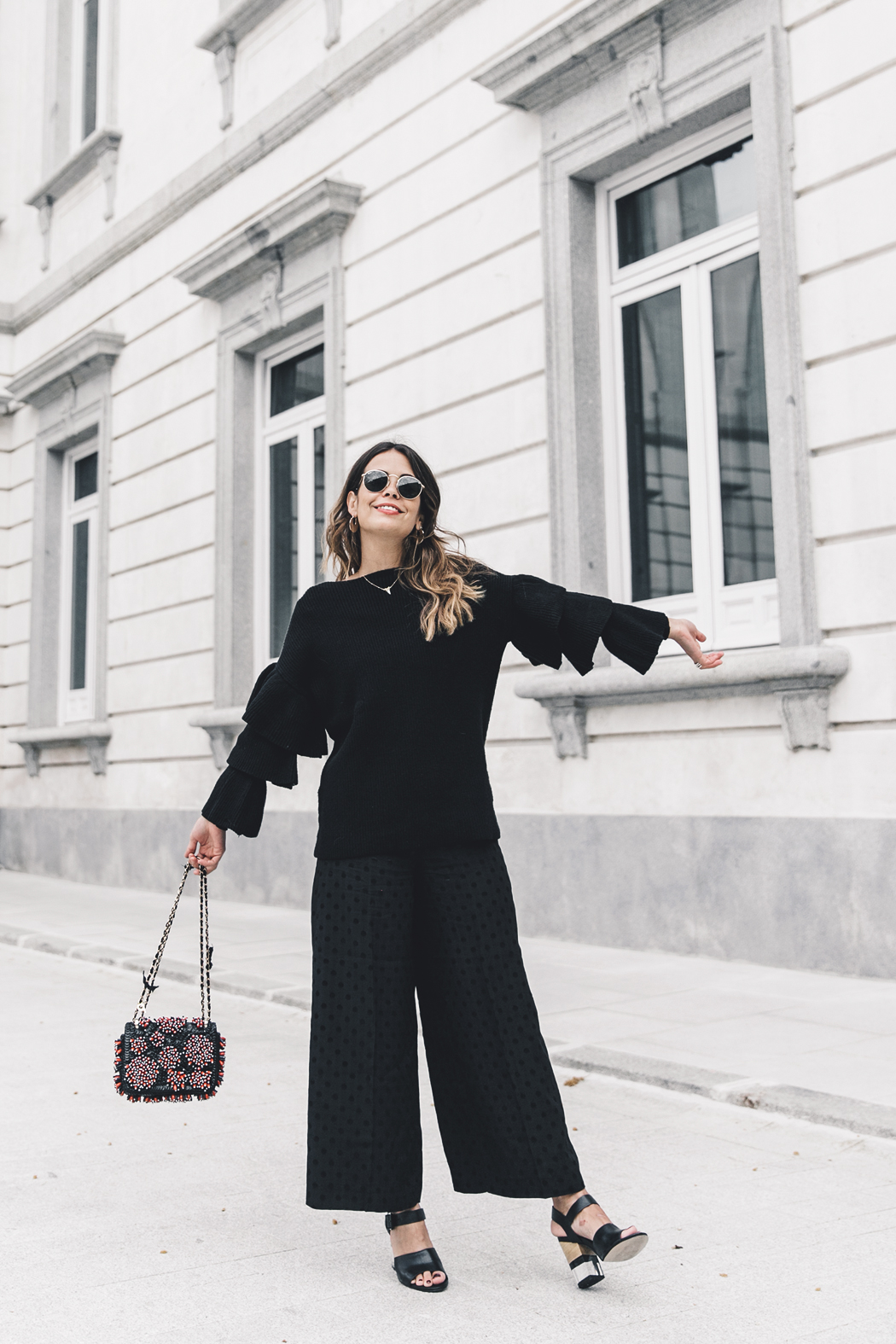 Ruffled_Sleeves_Jumper-Black_Culottes-Dune_Sandals-Beaded_Bag-Outfit-Collage_Vintage-Street_Style-16