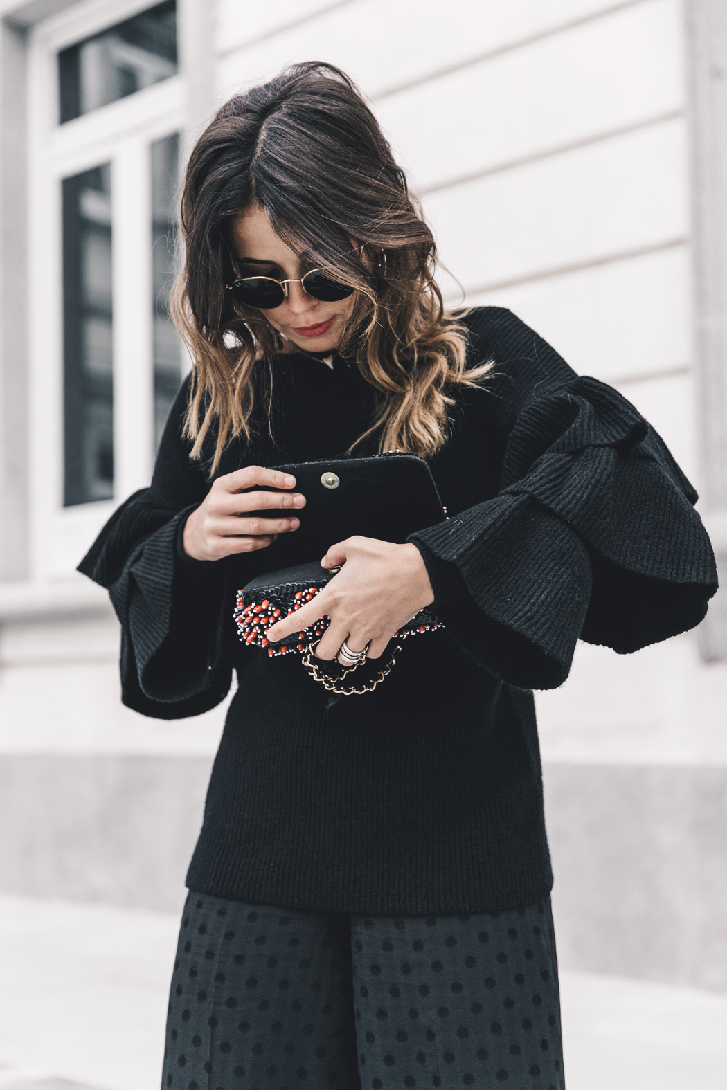 Ruffled_Sleeves_Jumper-Black_Culottes-Dune_Sandals-Beaded_Bag-Outfit-Collage_Vintage-Street_Style-37