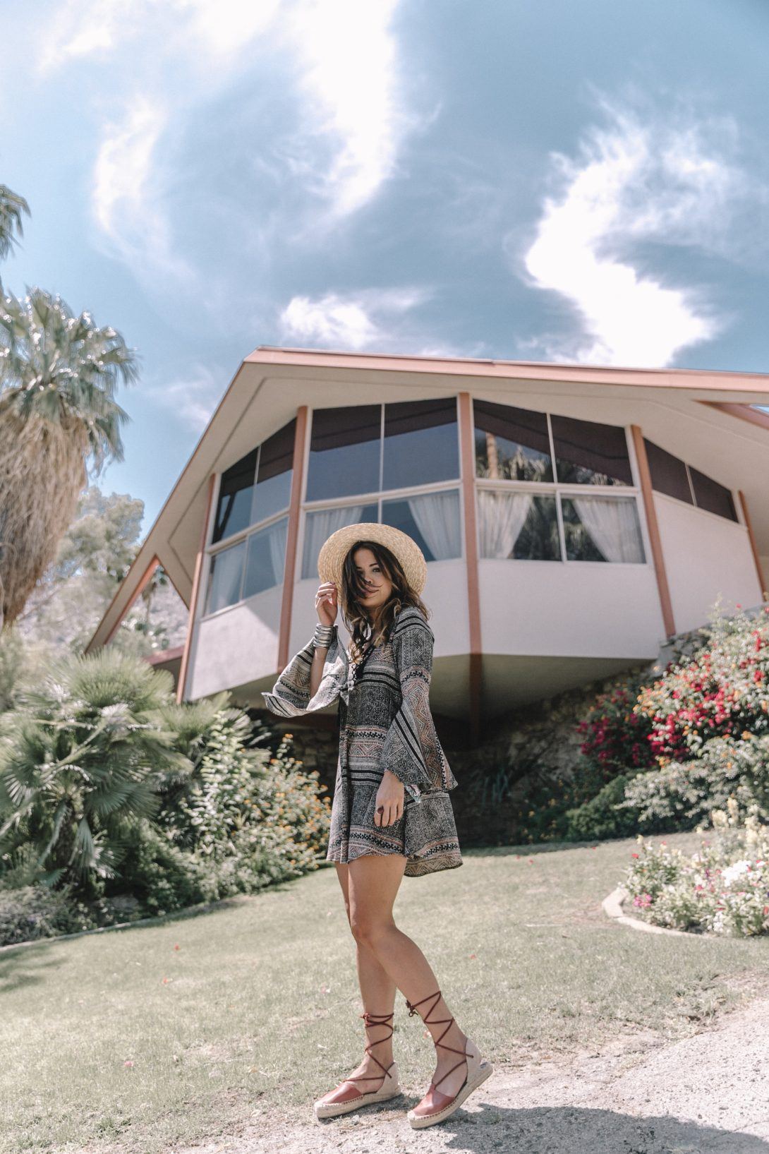 Boho_Dress-Lace_Up_Dress-Lack_of_Color-Revolve_Clothing-Straw_Hat-Soludos_Espadrilles-Palm_Springs-Outfit-Collage_Vintage-25