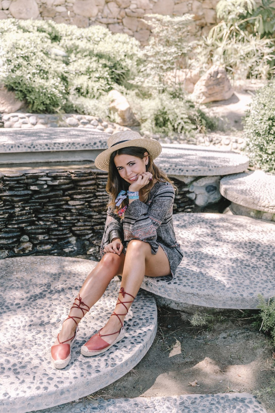 Boho_Dress-Lace_Up_Dress-Lack_of_Color-Revolve_Clothing-Straw_Hat-Soludos_Espadrilles-Palm_Springs-Outfit-Collage_Vintage-9
