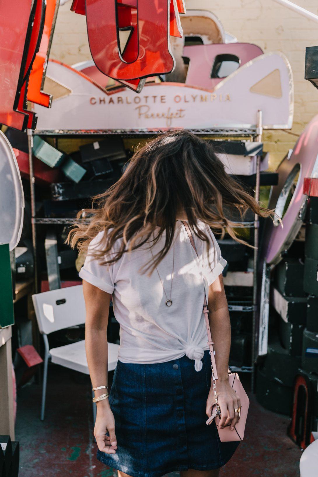 Calvin_Klein-Denim_Skirt-CK_Collection-Los_Angeles-Nick_Metropolis-Saint_Laurent_Sneakers-Pink_Bag-Outfit-Collage_Vintage--16