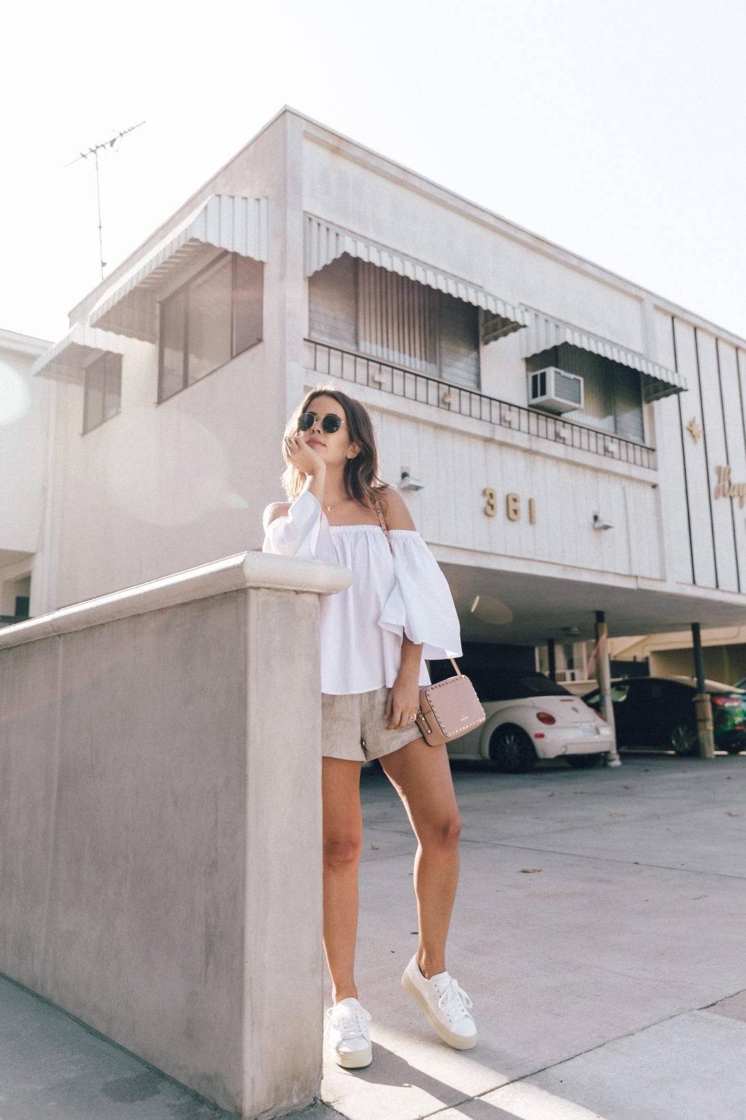 Off_The_Shoulders-Chicwish-Valentino_Bag-Monnier_Fevres-Sneakers-Saint_Laurent-Reformation_Shorts-Outfit-Los_Angeles--112
