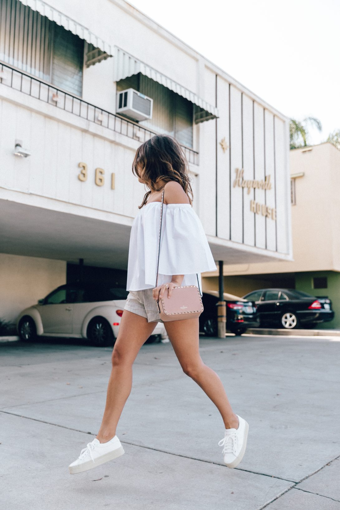 Off_The_Shoulders-Chicwish-Valentino_Bag-Monnier_Fevres-Sneakers-Saint_Laurent-Reformation_Shorts-Outfit-Los_Angeles--35