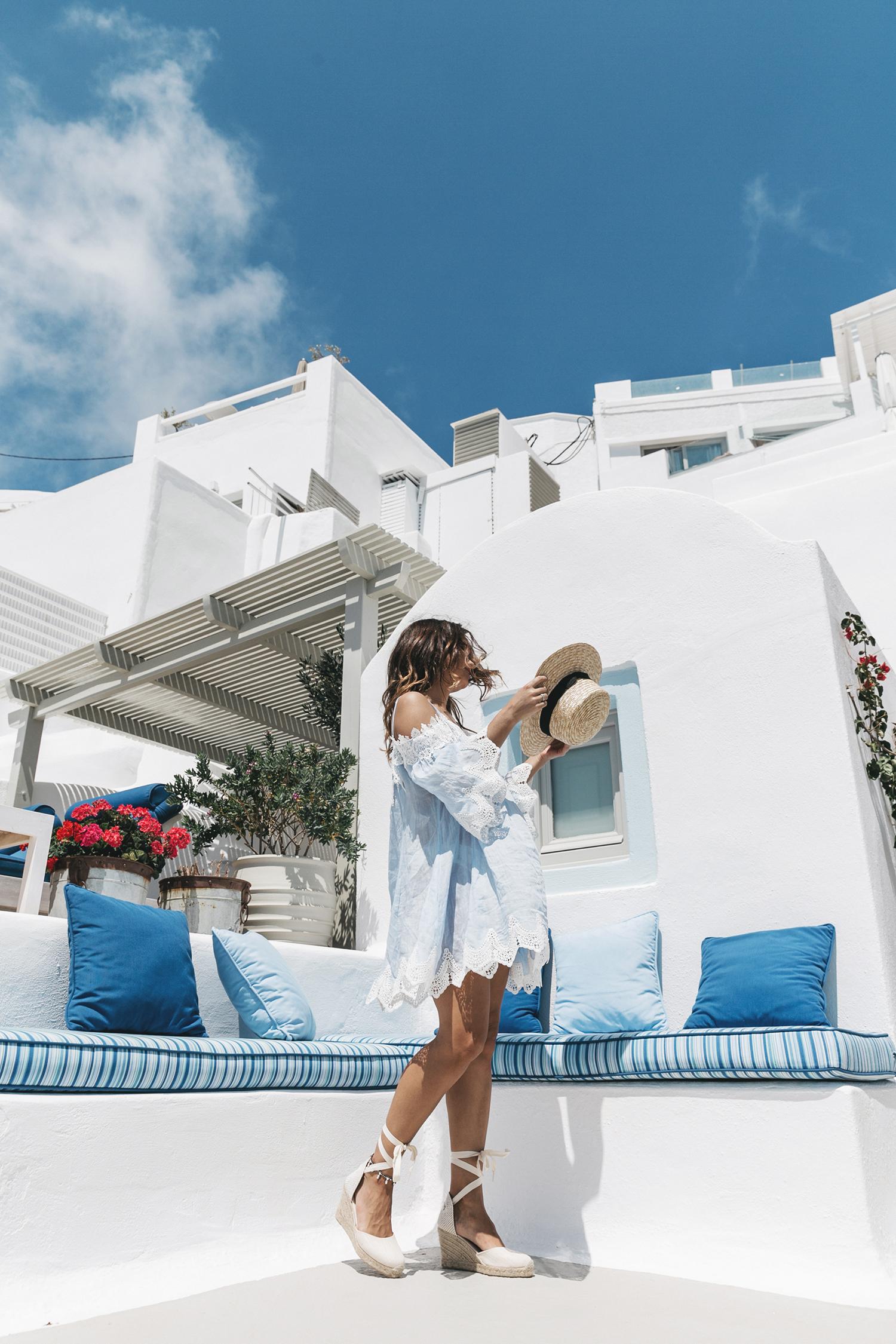 Blue_Dress-Soludos_Escapes-Soludos_Espadrilles-Canotier-Hat-Lack_Of_Color-Summer-Santorini-Collage_Vintage-25