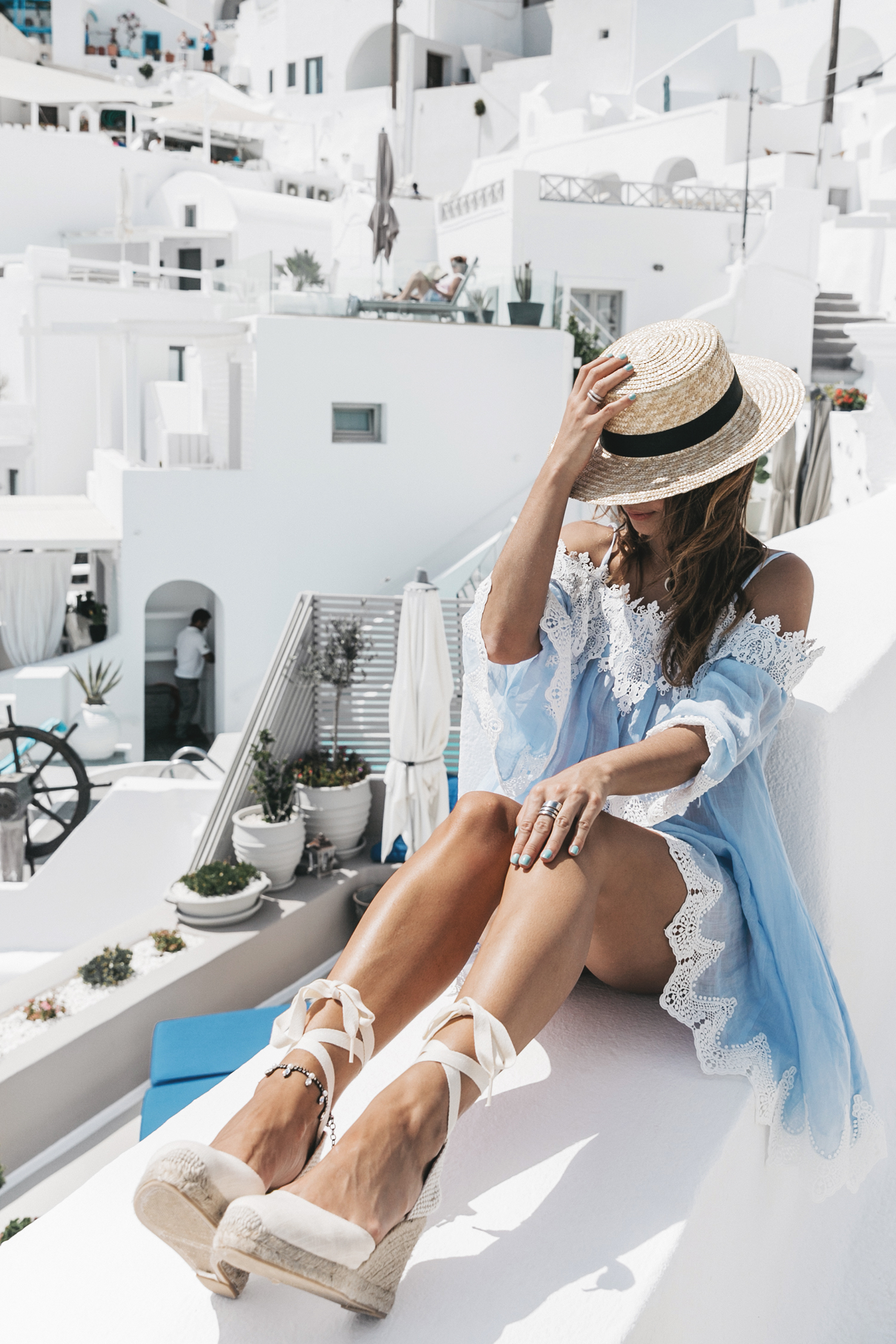 Blue_Dress-Soludos_Escapes-Soludos_Espadrilles-Canotier-Hat-Lack_Of_Color-Summer-Santorini-Collage_Vintage-59