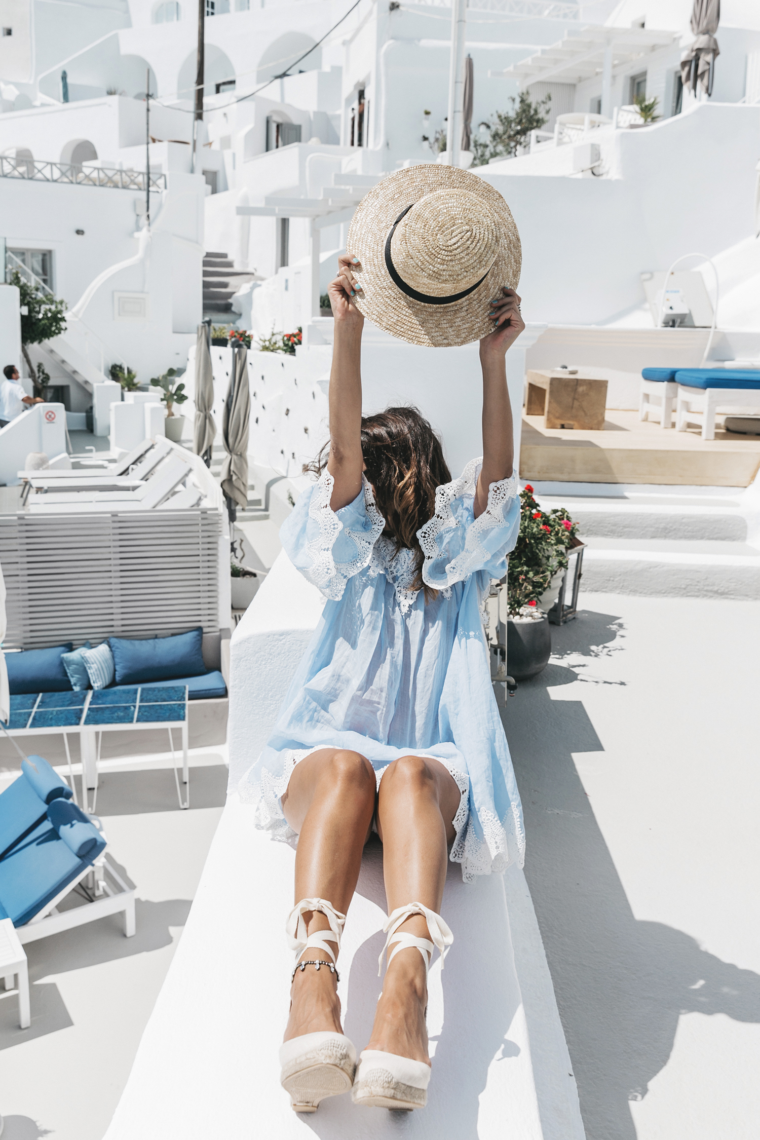 Blue_Dress-Soludos_Escapes-Soludos_Espadrilles-Canotier-Hat-Lack_Of_Color-Summer-Santorini-Collage_Vintage-61