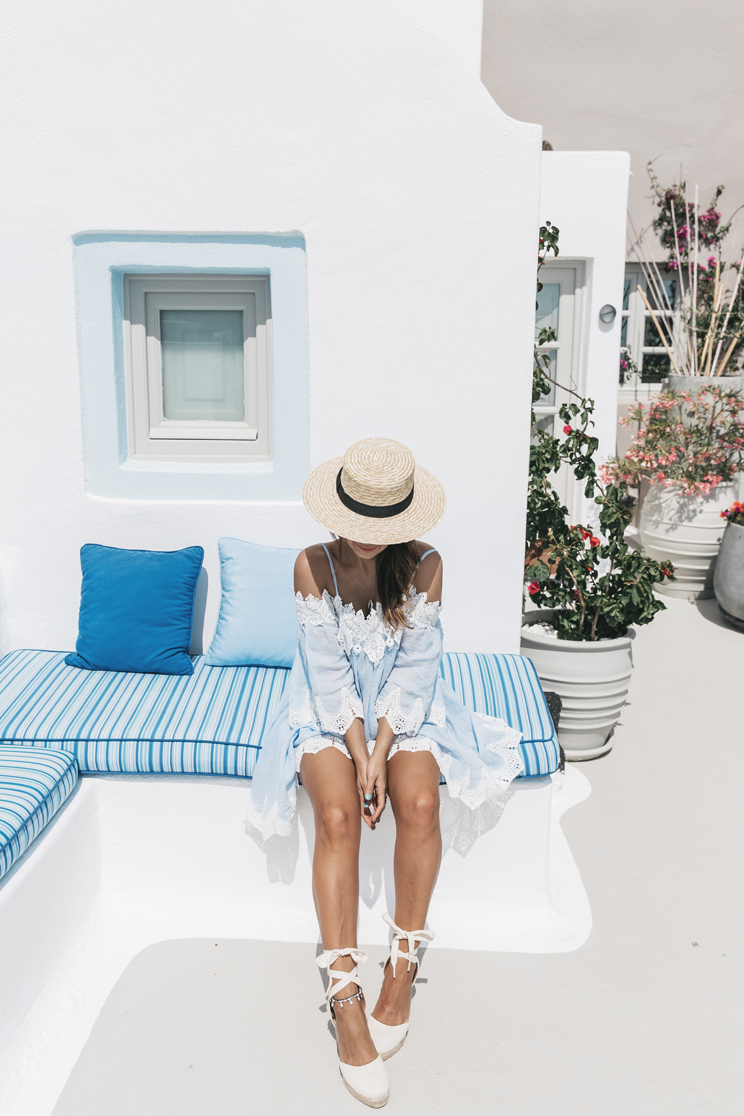 Blue_Dress-Soludos_Escapes-Soludos_Espadrilles-Canotier-Hat-Lack_Of_Color-Summer-Santorini-Collage_Vintage-83