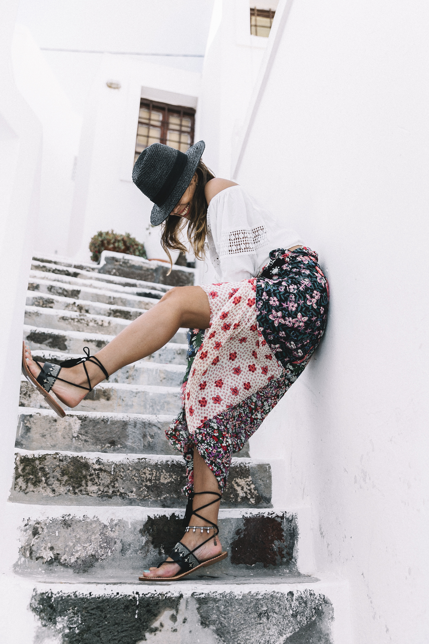 Scarf_As_Skirt_Boho_Top-Straw_Hat-Soludos_Escapes-Soludos_Espadrilles-Summer-Santorini-Collage_Vintage-14