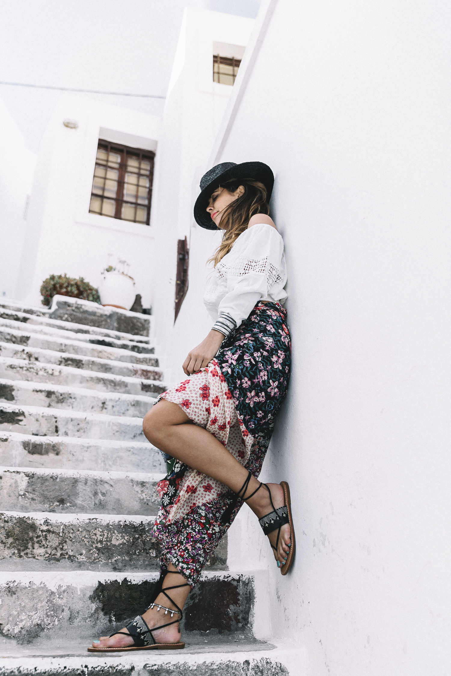 Scarf_As_Skirt_Boho_Top-Straw_Hat-Soludos_Escapes-Soludos_Espadrilles-Summer-Santorini-Collage_Vintage-15